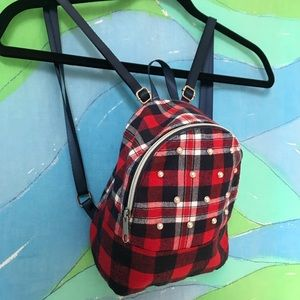 MINI BACKPACK red black plaid faux pearl details